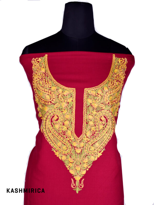Larmz - Red Embroidered Salwar Kameez [Hand Aari] 1