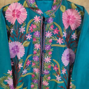 Kashmiri Sea Green SIlk Jacket
