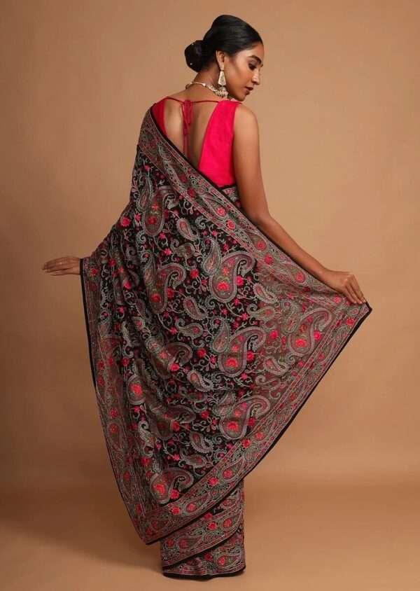 Sawdah Black Kashmiri Saree 3