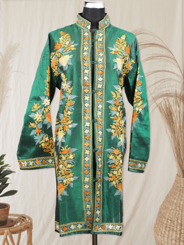Green colour kashmiri silk jacket