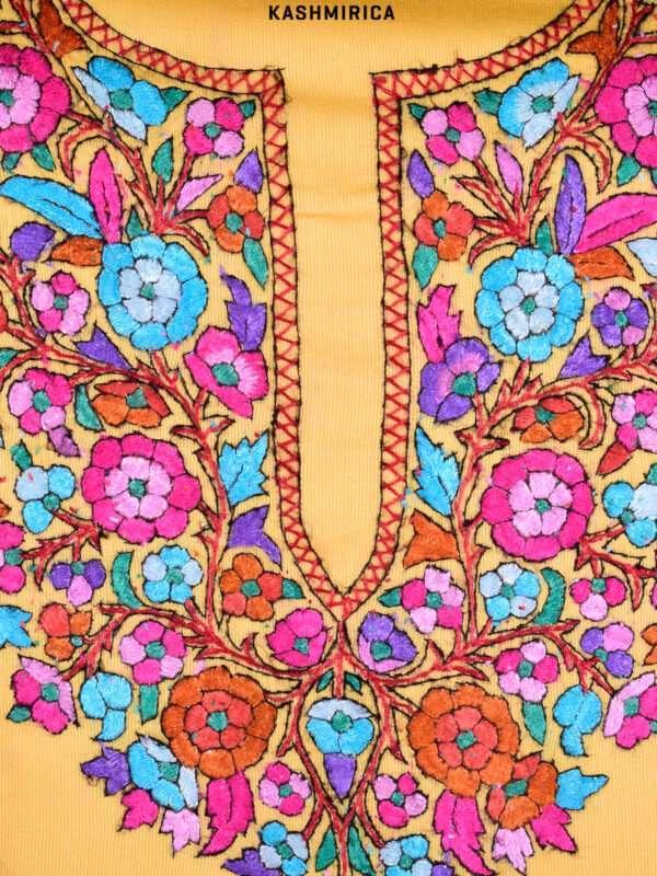 Asfar - Yellow Embroidered Kashmiri Suit [Paper Mache] 1