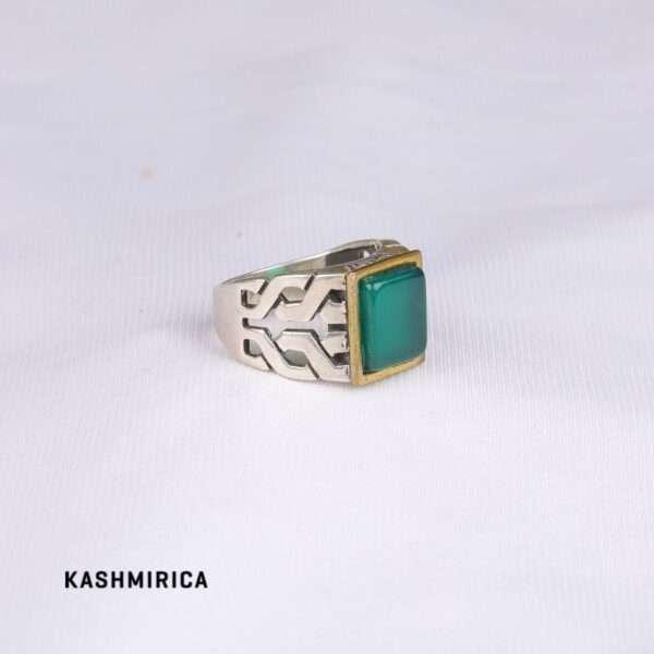 Noura Ring [Green Onyx & Silver] White