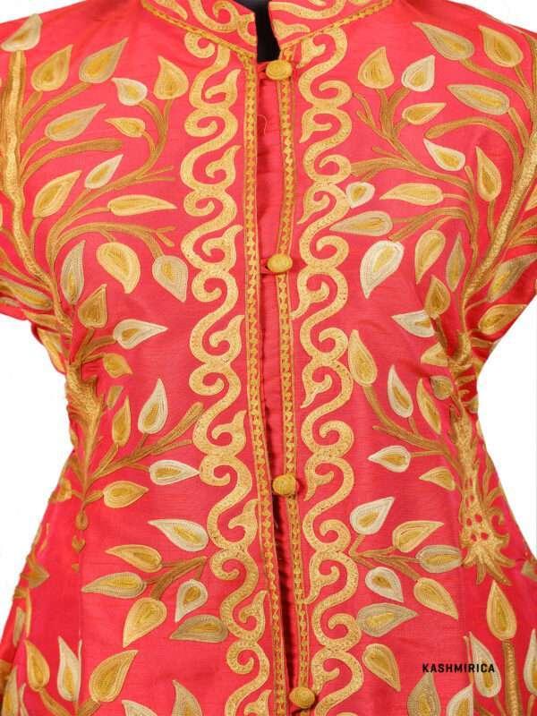 red colour kashmiri jacket