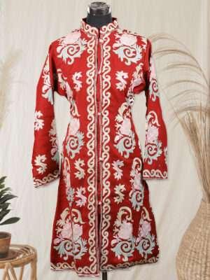 maroon woolen kashmiri jacket