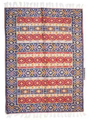 Blue and red colour kashmiri chain stitch