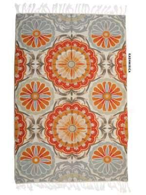 orange and grey colour kashmiri chain stitch