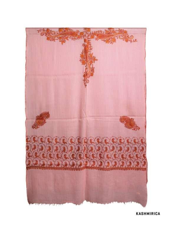 Peach colour pashmina shawl with white background